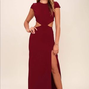 LULU'S CONVERSATION PIECE WINE RED BACKLESS DRESS